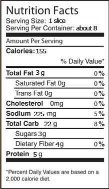 gluten free pizza crust nutritionals